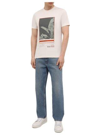 Мужская хлопковая футболка BOSS белого цвета, арт. 50453117 | Фото 2