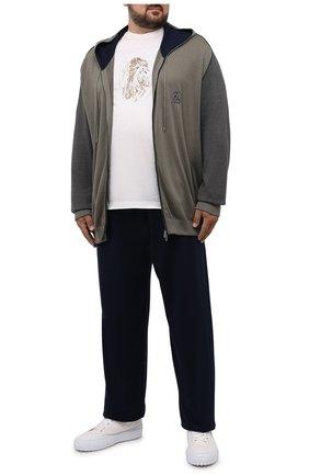 Мужской спортивный костюм из хлопка и шелка ZILLI хаки цвета, арт. MBV-J0157-NEJ01/ML01/66-68 | Фото 1 (Материал внешний: Хлопок, Шелк; Кросс-КТ: Спорт; Рукава: Длинные)