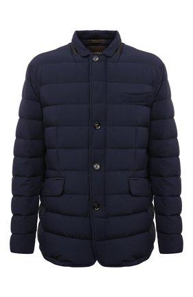 Мужская пуховая куртка zayn-kn MOORER синего цвета, арт. ZAYN-KN/M0UGI100307-TEPA009 | Фото 1 (Рукава: Длинные; Материал внешний: Синтетический материал; Длина (верхняя одежда): Короткие; Материал подклада: Синтетический материал; Кросс-КТ: Куртка, Пуховик; Мужское Кросс-КТ: пуховик-короткий; Стили: Классический; Материал утеплителя: Пух и перо)