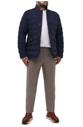 Мужская пуховая куртка zayn-kn MOORER синего цвета, арт. ZAYN-KN/M0UGI100307-TEPA009 | Фото 2 (Рукава: Длинные; Материал внешний: Синтетический материал; Длина (верхняя одежда): Короткие; Материал подклада: Синтетический материал; Кросс-КТ: Куртка, Пуховик; Мужское Кросс-КТ: пуховик-короткий; Стили: Классический; Материал утеплителя: Пух и перо)
