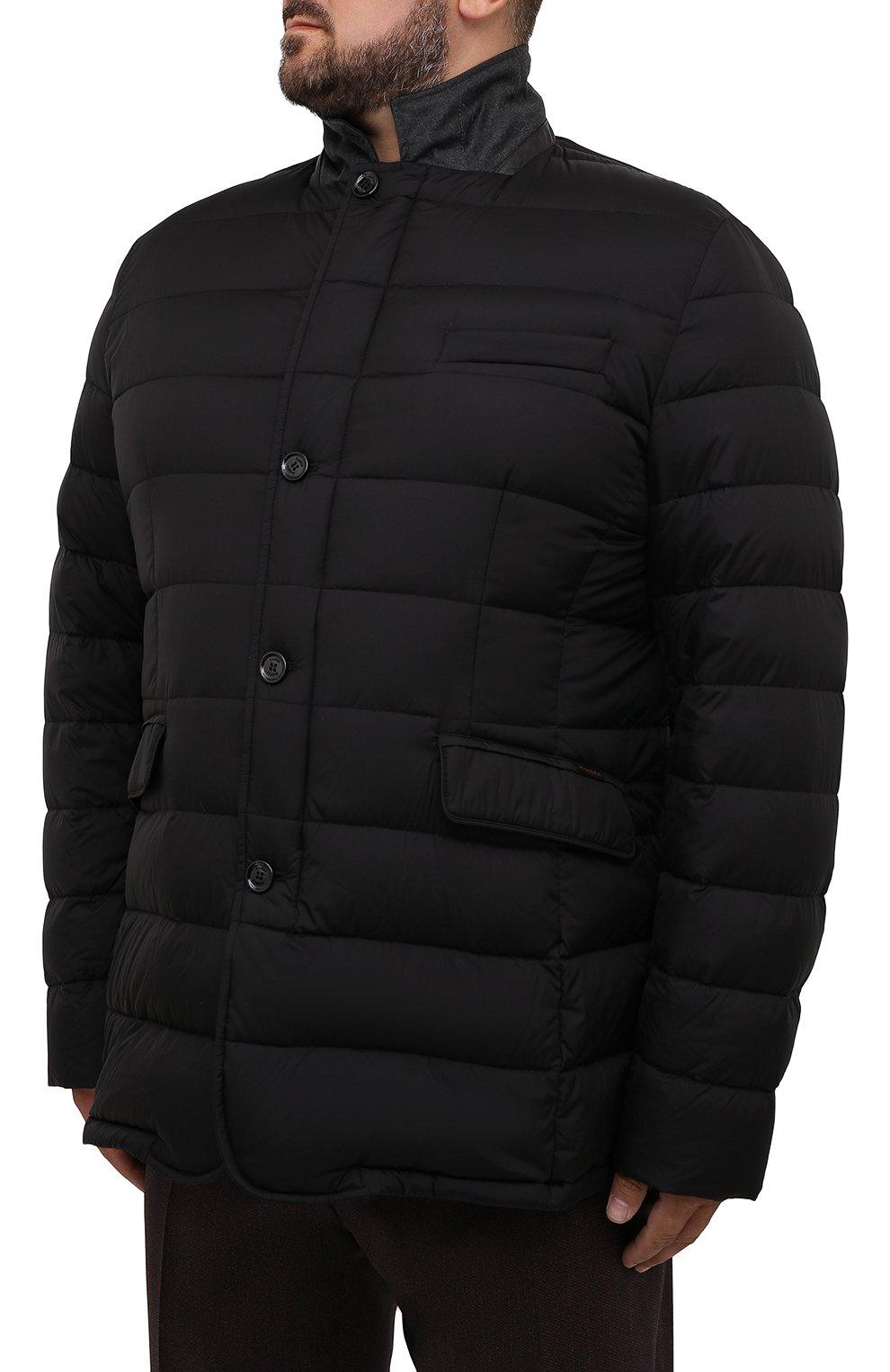 Мужская пуховая куртка zayn-op MOORER черного цвета, арт. ZAYN-0P/M0UGI100307-TEPA017/60-68   Фото 3 (Кросс-КТ: Куртка, Пуховик; Мужское Кросс-КТ: пуховик-короткий; Рукава: Длинные; Материал внешний: Синтетический материал; Стили: Классический; Материал подклада: Синтетический материал)