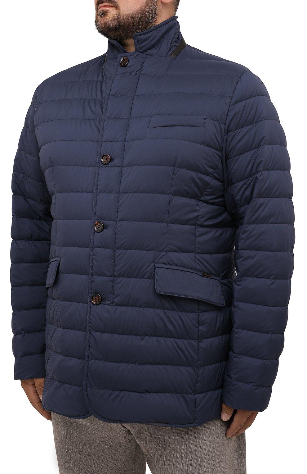 Мужская пуховая куртка zavyer-s3 MOORER синего цвета, арт. ZAVYER-S3/M0UGI100071-TEPA028/60-68   Фото 3 (Кросс-КТ: Куртка, Пуховик; Мужское Кросс-КТ: пуховик-короткий; Рукава: Длинные; Длина (верхняя одежда): До середины бедра; Материал внешний: Синтетический материал; Стили: Классический; Материал подклада: Синтетический материал; Материал утеплителя: Пух и перо)