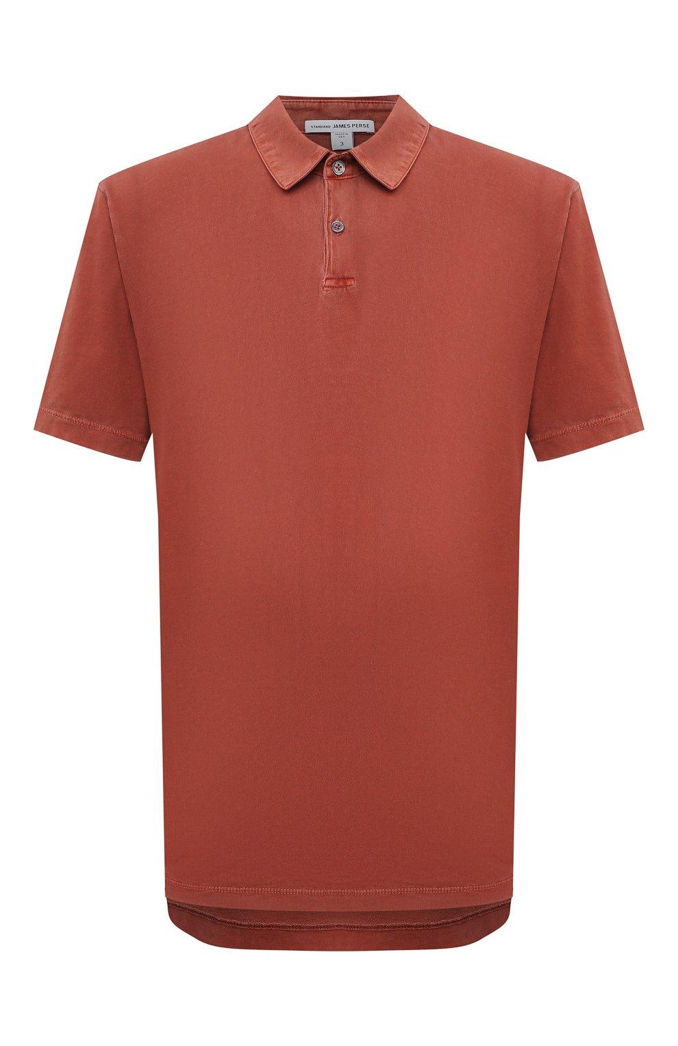 Мужское хлопковое поло JAMES PERSE красного цвета, арт. MSX3337   Фото 1 (Застежка: Пуговицы; Рукава: Короткие; Длина (для топов): Удлиненные; Материал внешний: Хлопок; Стили: Кэжуэл)