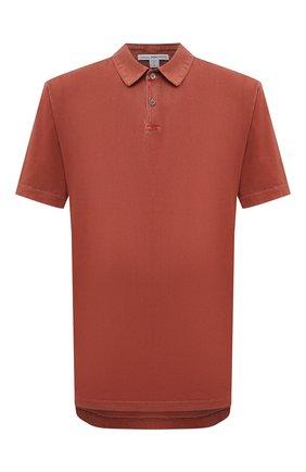 Мужское хлопковое поло JAMES PERSE красного цвета, арт. MSX3337 | Фото 1 (Материал внешний: Хлопок; Стили: Кэжуэл; Рукава: Короткие; Длина (для топов): Удлиненные; Застежка: Пуговицы)