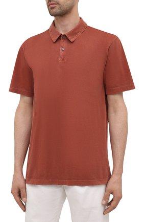 Мужское хлопковое поло JAMES PERSE красного цвета, арт. MSX3337   Фото 3 (Застежка: Пуговицы; Рукава: Короткие; Длина (для топов): Удлиненные; Материал внешний: Хлопок; Стили: Кэжуэл)