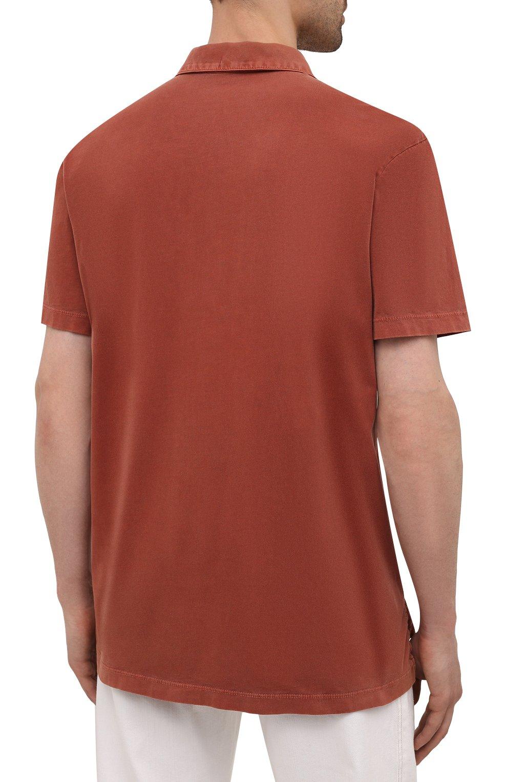 Мужское хлопковое поло JAMES PERSE красного цвета, арт. MSX3337   Фото 4 (Застежка: Пуговицы; Рукава: Короткие; Длина (для топов): Удлиненные; Материал внешний: Хлопок; Стили: Кэжуэл)