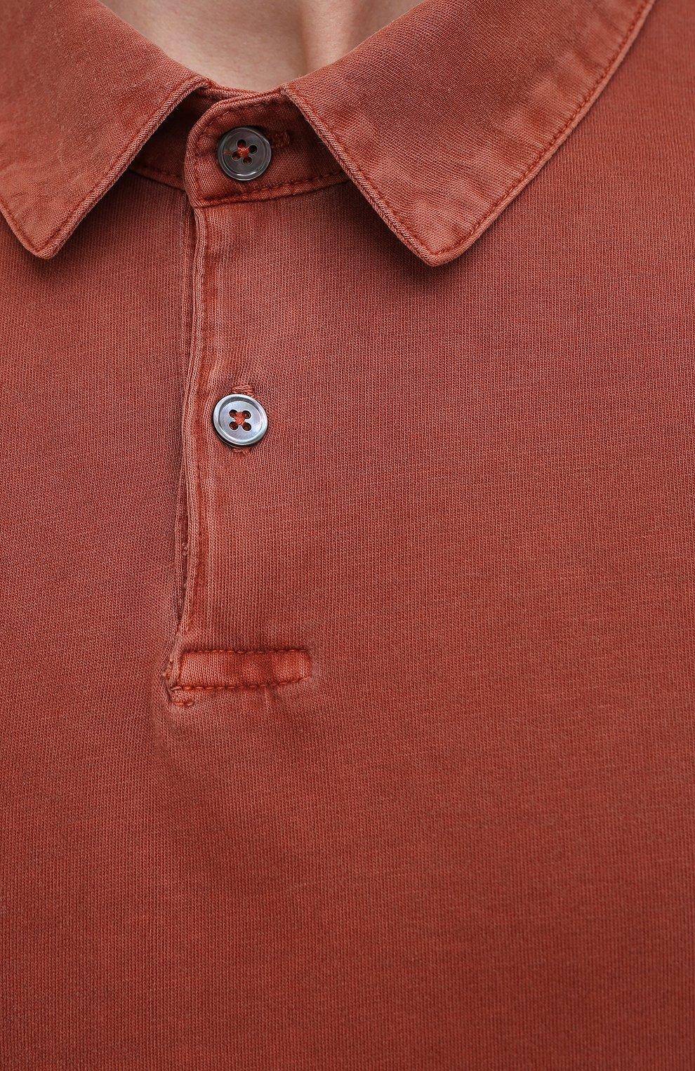 Мужское хлопковое поло JAMES PERSE красного цвета, арт. MSX3337   Фото 5 (Застежка: Пуговицы; Рукава: Короткие; Длина (для топов): Удлиненные; Материал внешний: Хлопок; Стили: Кэжуэл)