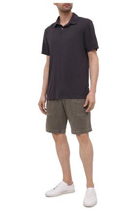 Мужское хлопковое поло JAMES PERSE серого цвета, арт. MSX3337 | Фото 2 (Материал внешний: Хлопок; Стили: Кэжуэл; Рукава: Короткие; Длина (для топов): Удлиненные; Застежка: Пуговицы)