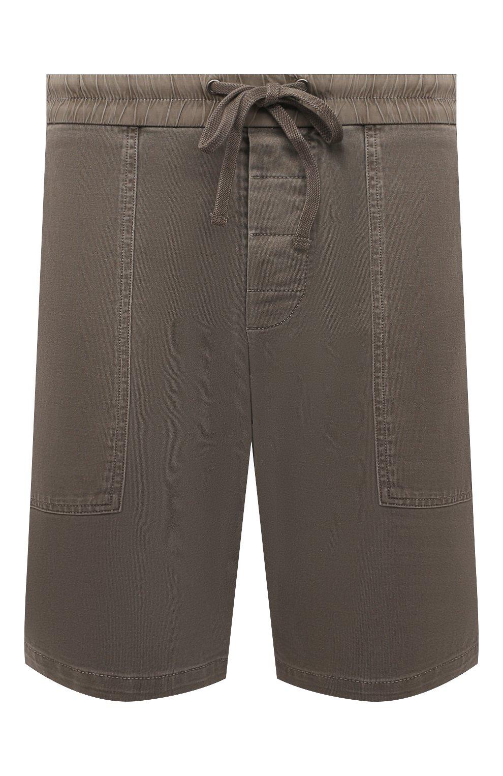 Мужские хлопковые шорты JAMES PERSE хаки цвета, арт. MNW4197 | Фото 1 (Мужское Кросс-КТ: Шорты-одежда; Длина Шорты М: До колена; Принт: Без принта; Материал внешний: Хлопок; Стили: Кэжуэл)