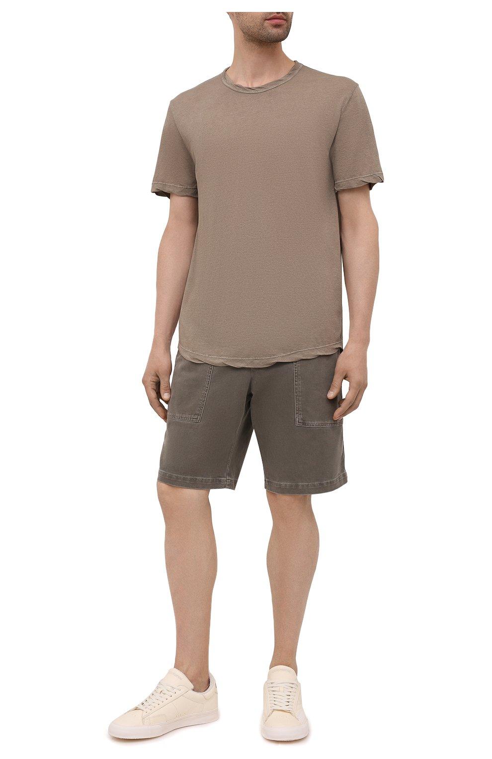 Мужские хлопковые шорты JAMES PERSE хаки цвета, арт. MNW4197 | Фото 2 (Мужское Кросс-КТ: Шорты-одежда; Длина Шорты М: До колена; Принт: Без принта; Материал внешний: Хлопок; Стили: Кэжуэл)
