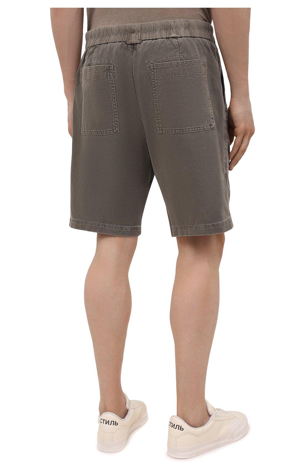 Мужские хлопковые шорты JAMES PERSE хаки цвета, арт. MNW4197 | Фото 4 (Мужское Кросс-КТ: Шорты-одежда; Длина Шорты М: До колена; Принт: Без принта; Материал внешний: Хлопок; Стили: Кэжуэл)