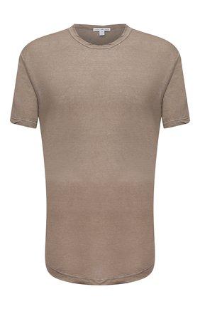 Мужская хлопковая футболка JAMES PERSE коричневого цвета, арт. MKJ3360 | Фото 1 (Материал внешний: Хлопок; Принт: Без принта; Рукава: Короткие; Стили: Кэжуэл; Длина (для топов): Удлиненные)