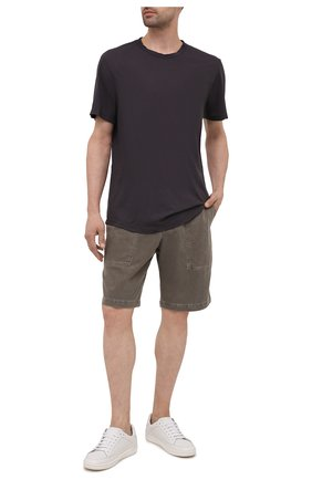 Мужская хлопковая футболка JAMES PERSE серого цвета, арт. MKJ3360 | Фото 2 (Материал внешний: Хлопок; Принт: Без принта; Рукава: Короткие; Стили: Кэжуэл; Длина (для топов): Удлиненные)