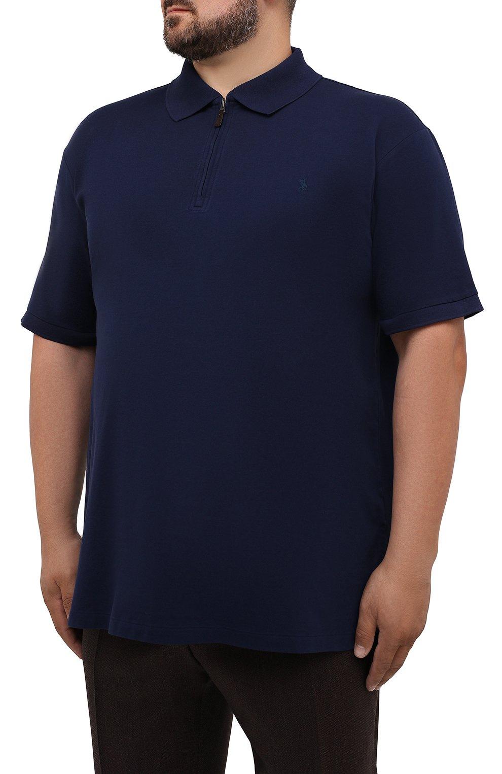 Мужское хлопковое поло POLO RALPH LAUREN темно-синего цвета, арт. 711842622/PRL BS | Фото 3 (Застежка: Молния; Рукава: Короткие; Длина (для топов): Удлиненные; Материал внешний: Хлопок; Стили: Кэжуэл)