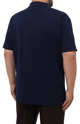 Мужское хлопковое поло POLO RALPH LAUREN темно-синего цвета, арт. 711842622/PRL BS | Фото 4 (Застежка: Молния; Рукава: Короткие; Длина (для топов): Удлиненные; Материал внешний: Хлопок; Стили: Кэжуэл)