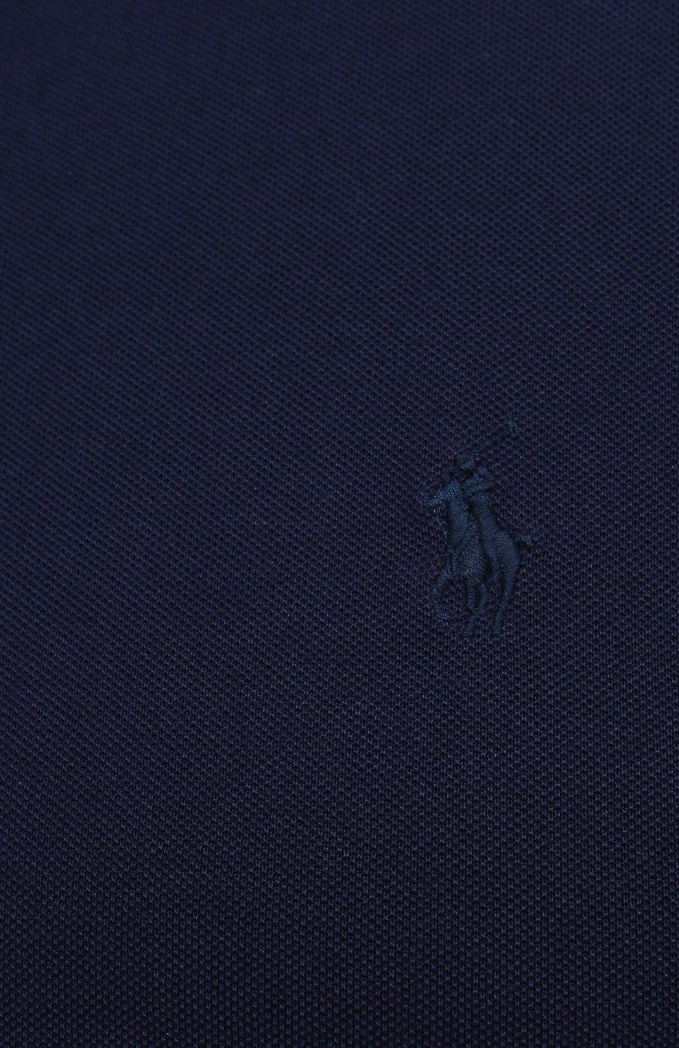 Мужское хлопковое поло POLO RALPH LAUREN темно-синего цвета, арт. 711842622/PRL BS | Фото 5 (Застежка: Молния; Рукава: Короткие; Длина (для топов): Удлиненные; Материал внешний: Хлопок; Стили: Кэжуэл)