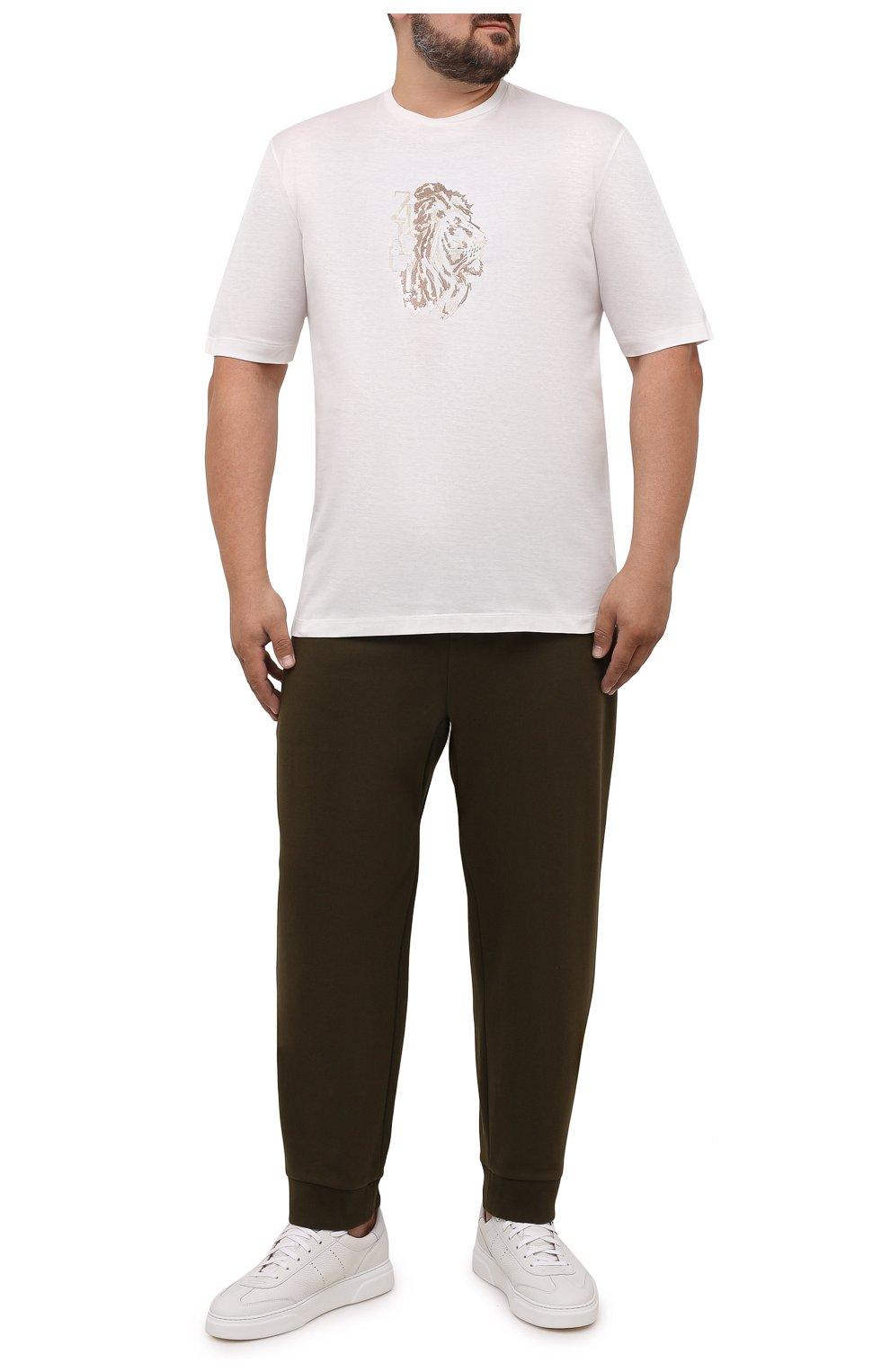 Мужские джоггеры POLO RALPH LAUREN хаки цвета, арт. 711652314/PRL BS | Фото 2 (Мужское Кросс-КТ: Брюки-трикотаж; Длина (брюки, джинсы): Стандартные; Кросс-КТ: Спорт; Материал внешний: Синтетический материал, Хлопок; Стили: Спорт-шик; Силуэт М (брюки): Джоггеры)
