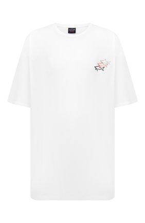 Мужская хлопковая футболка PAUL&SHARK белого цвета, арт. 11311658/C00/3XL-6XL | Фото 1 (Материал внешний: Хлопок; Стили: Кэжуэл; Рукава: Короткие; Принт: С принтом; Длина (для топов): Удлиненные)