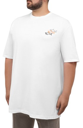 Мужская хлопковая футболка PAUL&SHARK белого цвета, арт. 11311658/C00/3XL-6XL | Фото 3