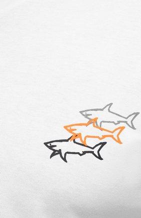 Мужская хлопковая футболка PAUL&SHARK белого цвета, арт. 11311658/C00/3XL-6XL | Фото 5