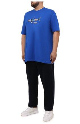 Мужская хлопковая футболка PAUL&SHARK синего цвета, арт. 21411097/C00/3XL-6XL   Фото 2