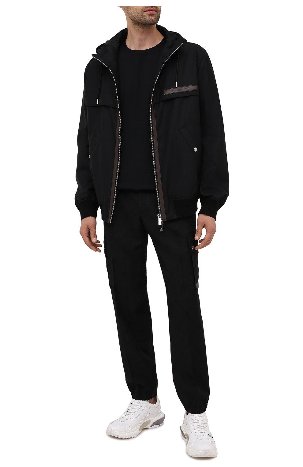 Мужской бомбер BERLUTI черного цвета, арт. R200BL102-001   Фото 2 (Кросс-КТ: Куртка; Материал внешний: Шерсть, Синтетический материал; Рукава: Длинные; Принт: Без принта; Длина (верхняя одежда): Короткие; Материал подклада: Купро; Стили: Кэжуэл)