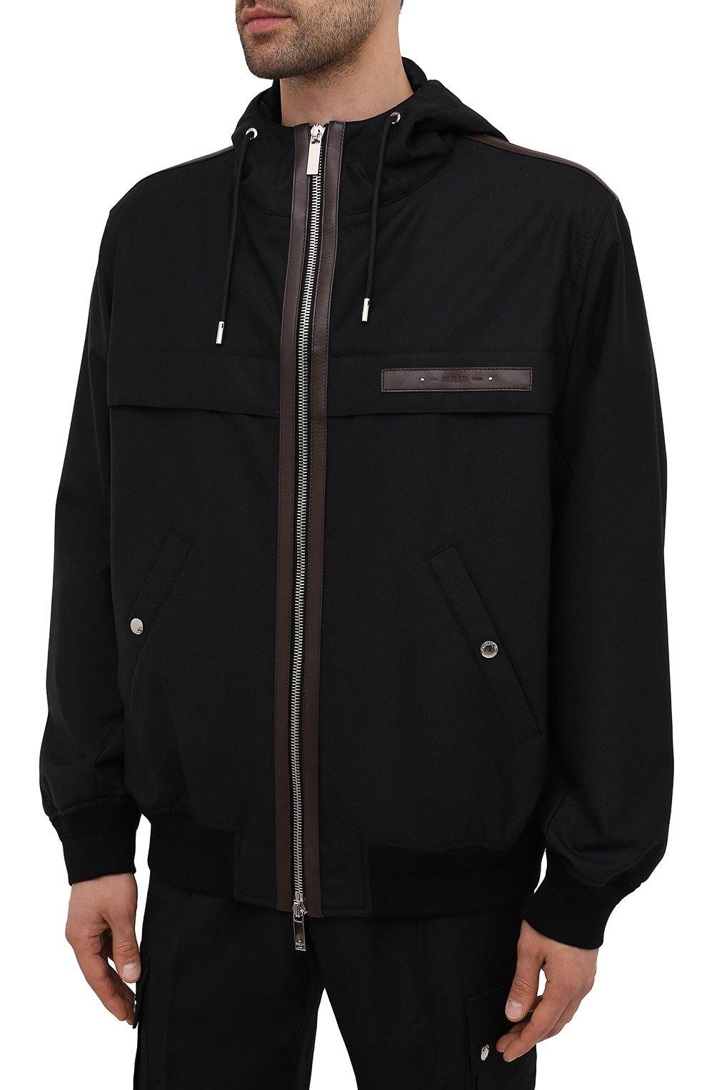 Мужской бомбер BERLUTI черного цвета, арт. R200BL102-001   Фото 3 (Кросс-КТ: Куртка; Материал внешний: Шерсть, Синтетический материал; Рукава: Длинные; Принт: Без принта; Длина (верхняя одежда): Короткие; Материал подклада: Купро; Стили: Кэжуэл)