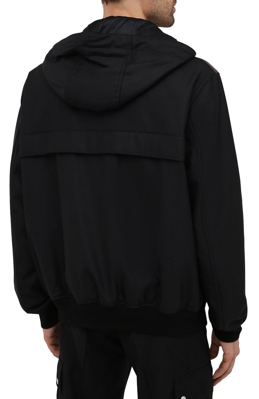 Мужской бомбер BERLUTI черного цвета, арт. R200BL102-001   Фото 4 (Кросс-КТ: Куртка; Материал внешний: Шерсть, Синтетический материал; Рукава: Длинные; Принт: Без принта; Длина (верхняя одежда): Короткие; Материал подклада: Купро; Стили: Кэжуэл)