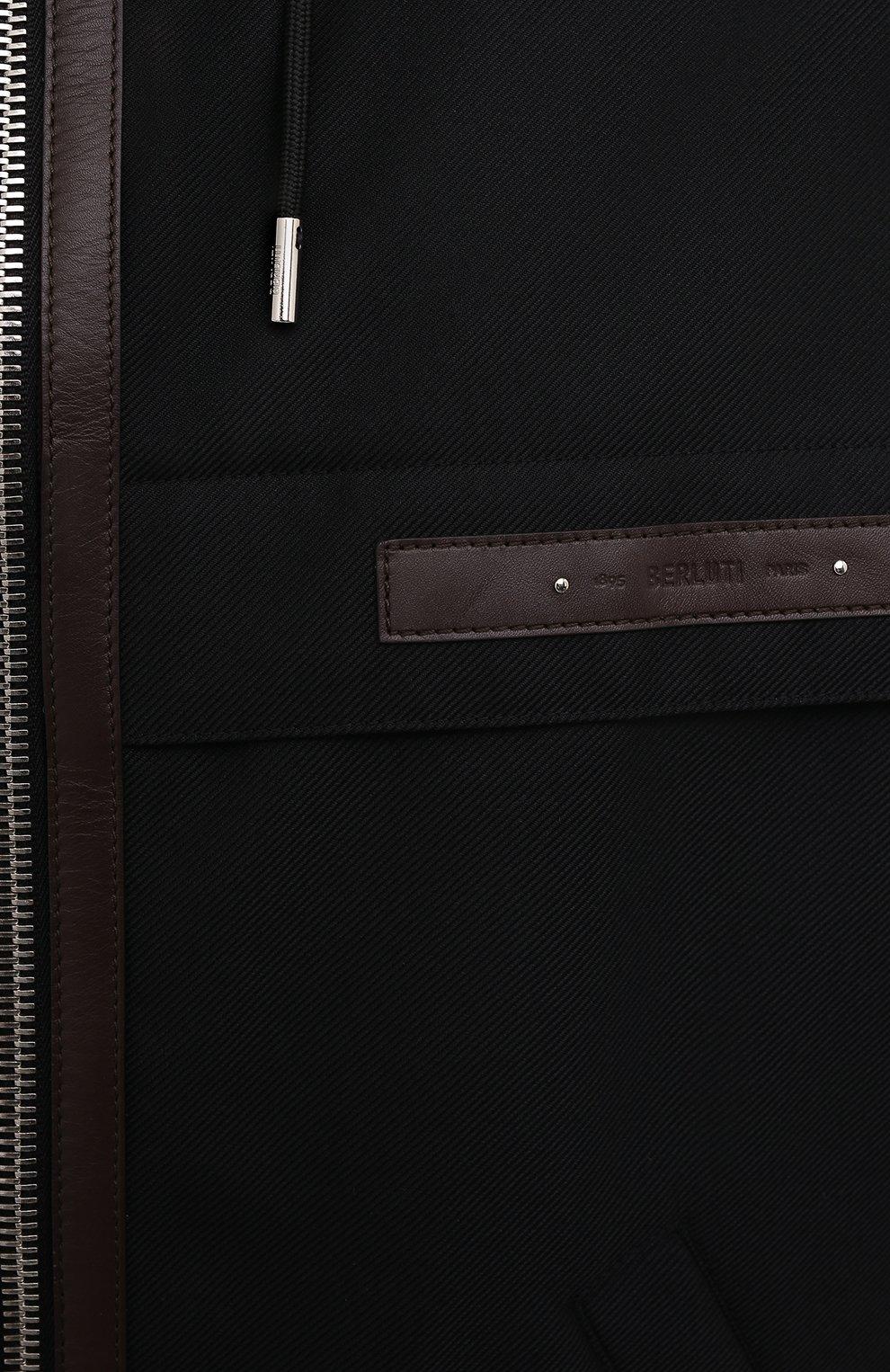 Мужской бомбер BERLUTI черного цвета, арт. R200BL102-001   Фото 5 (Кросс-КТ: Куртка; Материал внешний: Шерсть, Синтетический материал; Рукава: Длинные; Принт: Без принта; Длина (верхняя одежда): Короткие; Материал подклада: Купро; Стили: Кэжуэл)