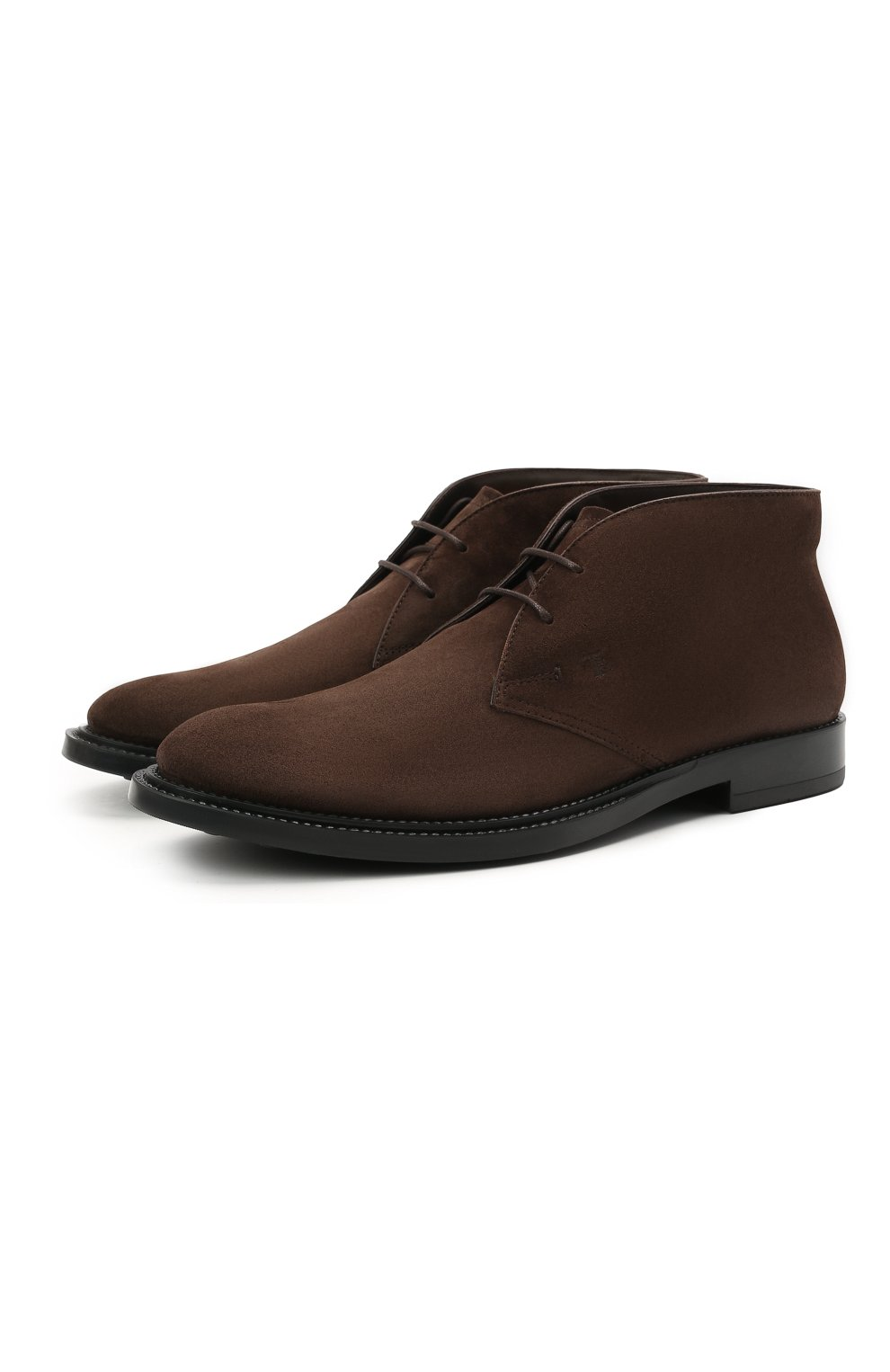 Мужские замшевые ботинки TOD'S темно-коричневого цвета, арт. XXM62C0DH60RE0   Фото 1 (Мужское Кросс-КТ: Ботинки-обувь, Дезерты-обувь; Материал внутренний: Натуральная кожа; Подошва: Плоская; Материал внешний: Замша)