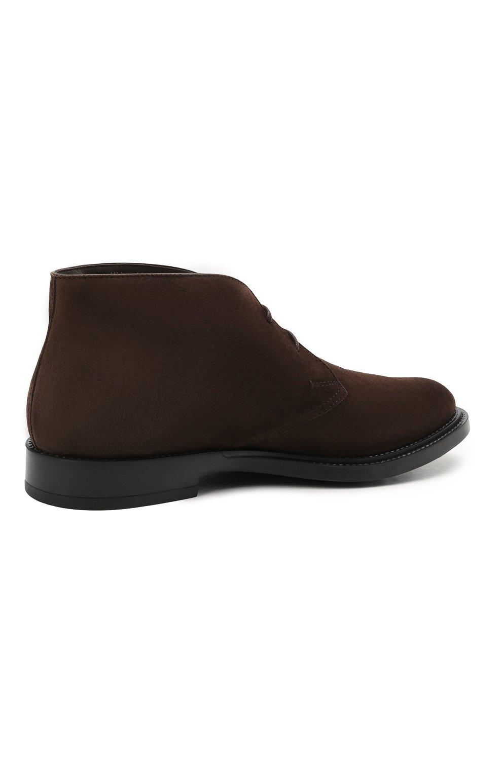 Мужские замшевые ботинки TOD'S темно-коричневого цвета, арт. XXM62C0DH60RE0   Фото 4 (Мужское Кросс-КТ: Ботинки-обувь, Дезерты-обувь; Материал внутренний: Натуральная кожа; Подошва: Плоская; Материал внешний: Замша)