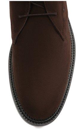 Мужские замшевые ботинки TOD'S темно-коричневого цвета, арт. XXM62C0DH60RE0   Фото 5 (Мужское Кросс-КТ: Ботинки-обувь, Дезерты-обувь; Материал внутренний: Натуральная кожа; Подошва: Плоская; Материал внешний: Замша)