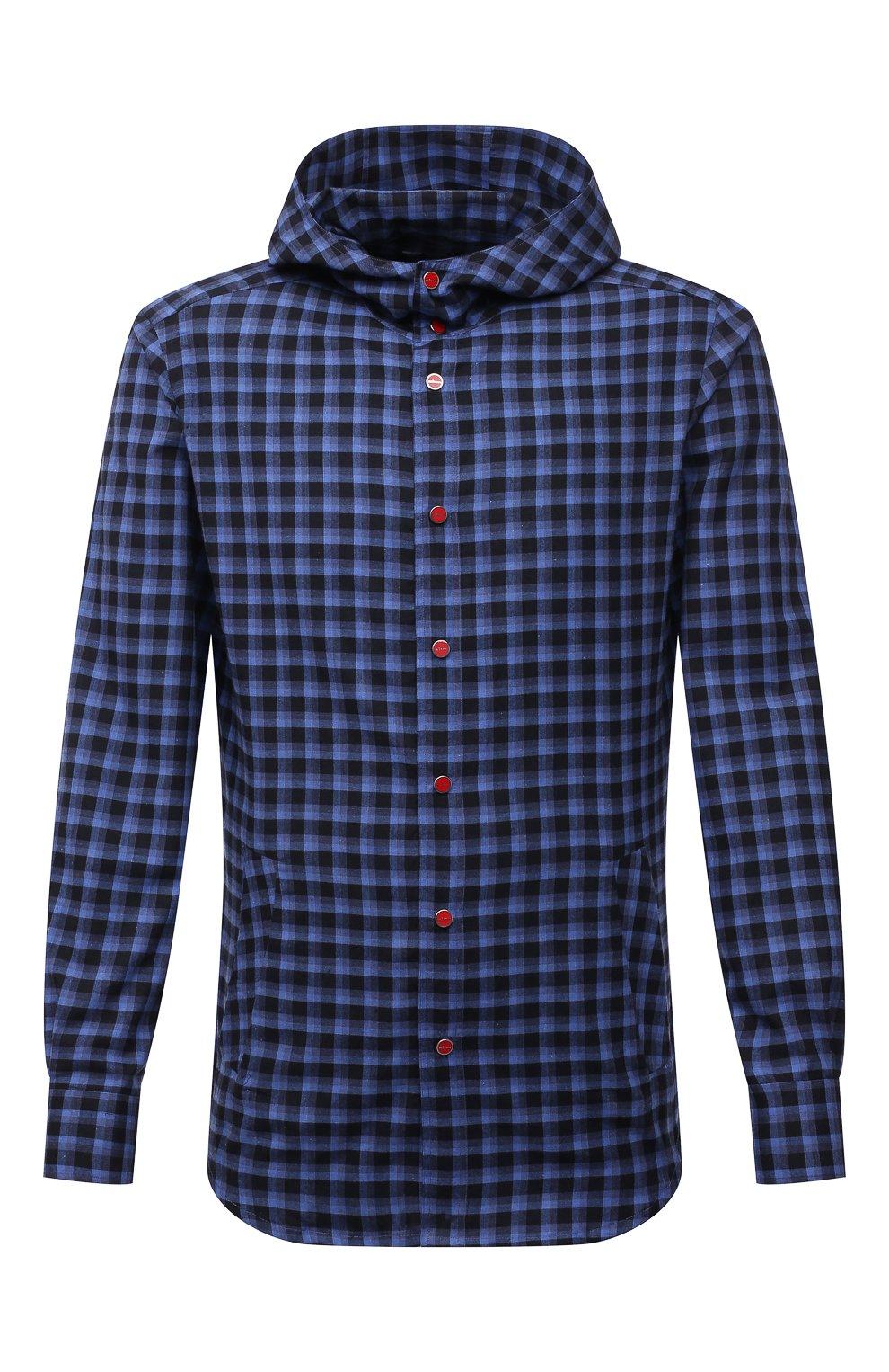 Мужская хлопковая рубашка KITON темно-синего цвета, арт. UMCMARH0785701   Фото 1
