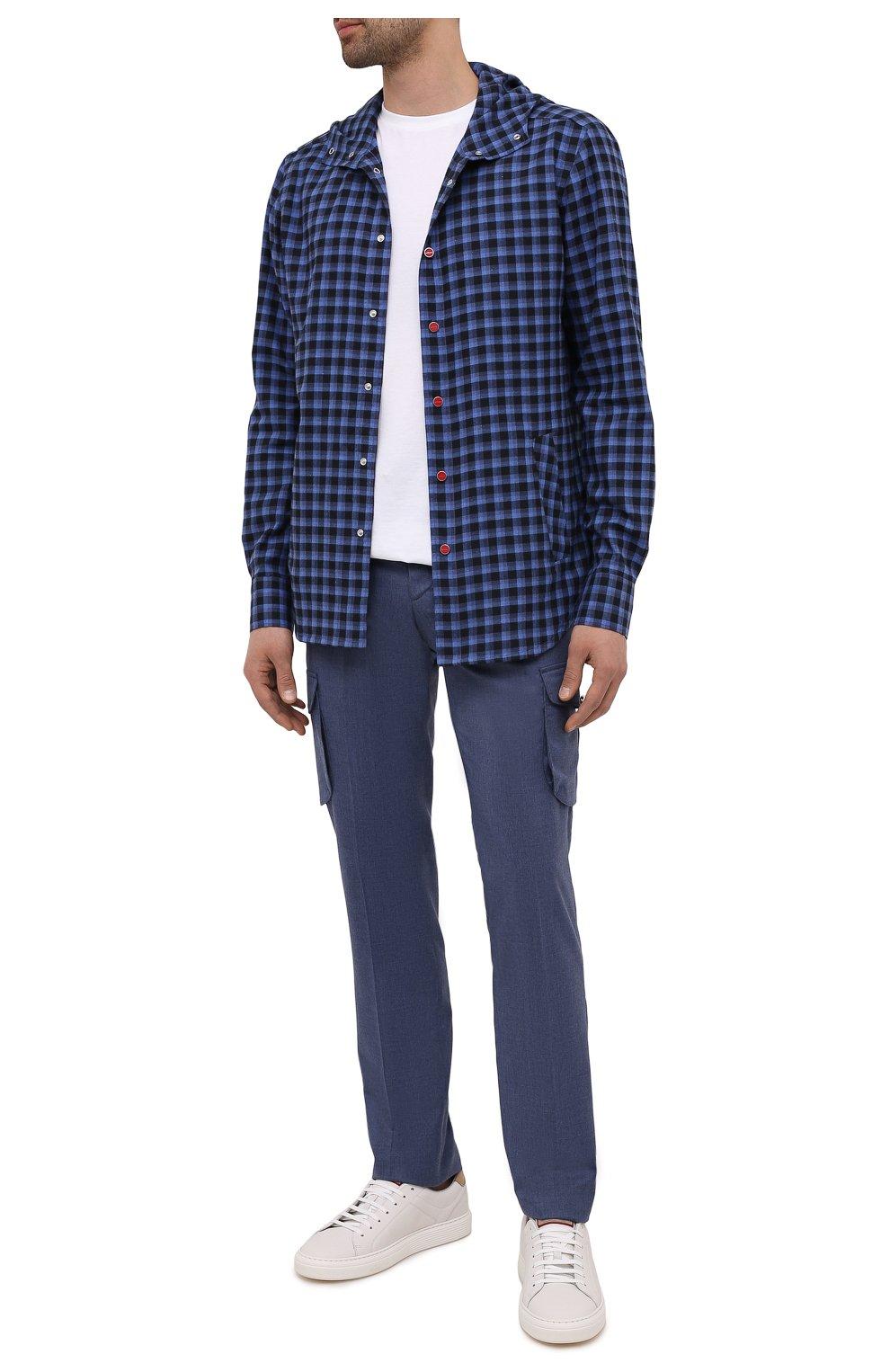 Мужская хлопковая рубашка KITON темно-синего цвета, арт. UMCMARH0785701   Фото 2