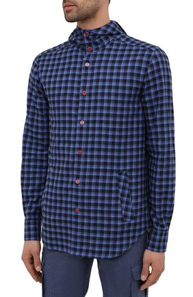 Мужская хлопковая рубашка KITON темно-синего цвета, арт. UMCMARH0785701   Фото 3