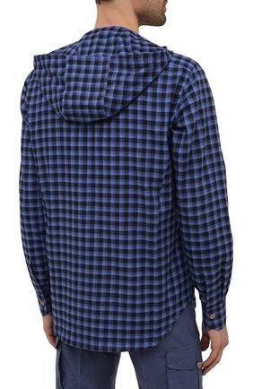 Мужская хлопковая рубашка KITON темно-синего цвета, арт. UMCMARH0785701   Фото 4