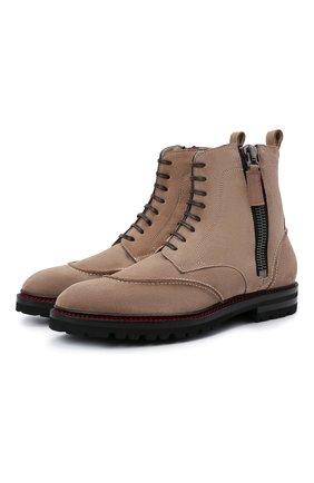 Мужские замшевые ботинки KITON бежевого цвета, арт. USSF0STN00689 | Фото 1 (Подошва: Плоская; Материал внутренний: Натуральная кожа; Мужское Кросс-КТ: Ботинки-обувь, зимние ботинки; Материал внешний: Замша; Материал утеплителя: Натуральный мех)