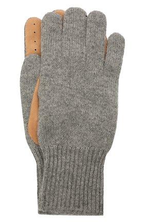 Мужские комбинированные перчатки BRUNELLO CUCINELLI серого цвета, арт. M2292118 | Фото 1