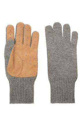 Мужские комбинированные перчатки BRUNELLO CUCINELLI серого цвета, арт. M2292118 | Фото 2
