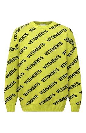 Мужской шерстяной свитер VETEMENTS светло-зеленого цвета, арт. UA52KN600Y 2901/M | Фото 1