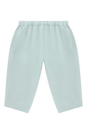 Детские хлопковые брюки BONPOINT бирюзового цвета, арт. S01ZPAWO0301(041C)_842975 | Фото 1 (Материал внешний: Хлопок; Ростовка одежда: 9 мес | 74 см)
