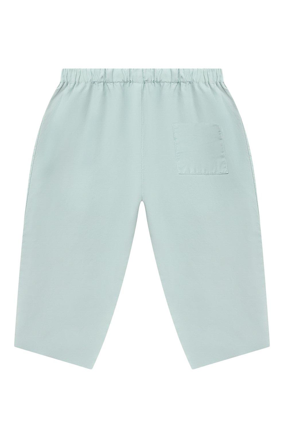 Детские хлопковые брюки BONPOINT бирюзового цвета, арт. S01ZPAWO0301(041C)_842975 | Фото 2 (Материал внешний: Хлопок; Ростовка одежда: 9 мес | 74 см)