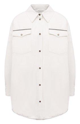 Женская пуховая куртка BRUNELLO CUCINELLI молочного цвета, арт. MB5749780P   Фото 1 (Материал внешний: Синтетический материал, Хлопок; Материал подклада: Синтетический материал; Кросс-КТ: Куртка; Рукава: Длинные; Стили: Кэжуэл; Женское Кросс-КТ: Пуховик-куртка; Материал утеплителя: Пух и перо; Длина (верхняя одежда): До середины бедра)