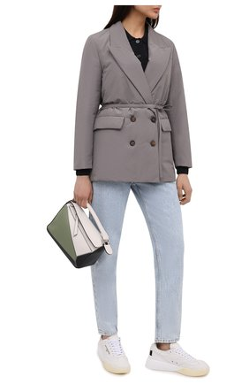 Женская пуховая куртка BRUNELLO CUCINELLI серого цвета, арт. MB5742175P | Фото 2 (Материал внешний: Синтетический материал, Хлопок; Длина (верхняя одежда): Короткие; Стили: Кэжуэл; Материал подклада: Синтетический материал; Кросс-КТ: Куртка; Рукава: Длинные; Женское Кросс-КТ: Пуховик-куртка)