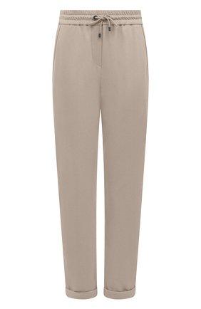 Женские хлопковые брюки BRUNELLO CUCINELLI бежевого цвета, арт. MP827SA399   Фото 1 (Материал внешний: Хлопок; Силуэт Ж (брюки и джинсы): Прямые; Длина (брюки, джинсы): Стандартные, Укороченные; Кросс-КТ: Трикотаж; Женское Кросс-КТ: Брюки-одежда; Стили: Спорт-шик)