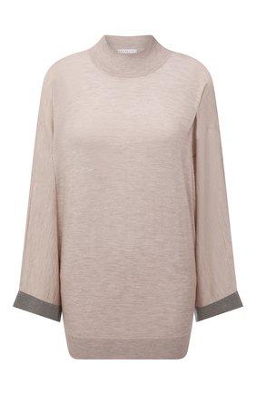 Женский шерстяной пуловер BRUNELLO CUCINELLI бежевого цвета, арт. M14815804P   Фото 1 (Материал внешний: Шерсть; Рукава: Длинные; Длина (для топов): Стандартные; Стили: Кэжуэл; Женское Кросс-КТ: Пуловер-одежда)