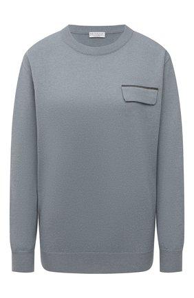 Женский кашемировый пуловер BRUNELLO CUCINELLI тёмно-голубого цвета, арт. M12170400P   Фото 1 (Материал внешний: Шерсть, Кашемир; Длина (для топов): Стандартные; Женское Кросс-КТ: Пуловер-одежда; Стили: Кэжуэл; Рукава: Длинные)