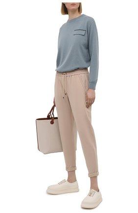 Женский кашемировый пуловер BRUNELLO CUCINELLI тёмно-голубого цвета, арт. M12170400P   Фото 2 (Материал внешний: Шерсть, Кашемир; Длина (для топов): Стандартные; Женское Кросс-КТ: Пуловер-одежда; Стили: Кэжуэл; Рукава: Длинные)