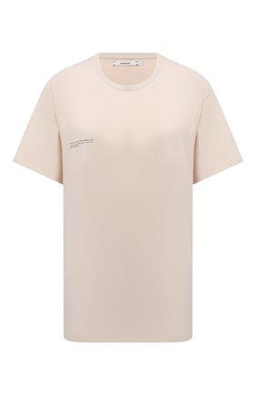 Женская хлопковая футболка PANGAIA бежевого цвета, арт. 20JTU01-031-JM0S01   Фото 1