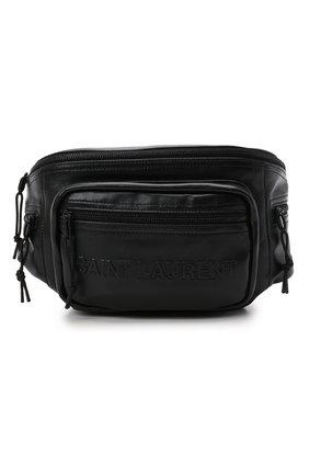 Мужская кожаная поясная сумка nuxx SAINT LAURENT черного цвета, арт. 581375/03U0Z | Фото 1